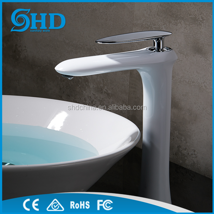 Factory wholesale brass Single Basin Faucets Water Mixer Tap Tall basin body white