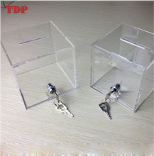 Plastic Small Mini clear charity money collection box wholesale acrylic donation box with lock