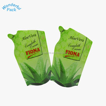 stand up drinking juice spout pouch liquid stand up pouch with spout shape Stand up foil shampoo plastic packaging bags