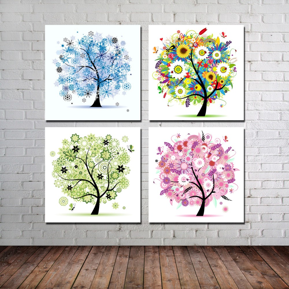 Multi color abstract tree canvas oil painting modern art oil frame canvas oil wall art