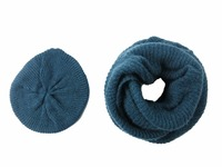 Navy Blue Winter Simple Plain Solid Acrylic Knitted Women Girls Female Hat Snood Infinity Scarf Tube Set