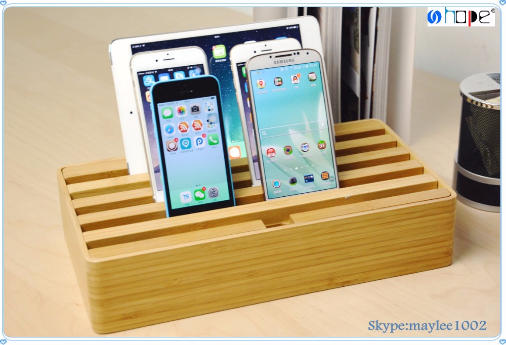 Bamboo Charging Station Stand Dock Multi Device Organizer Multi USB 6 Port Charger Desktop Rapid Station