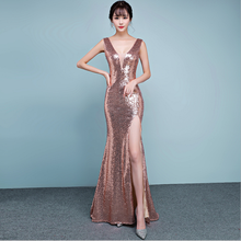 Shiny materials Sexy backless luxury dress evening
