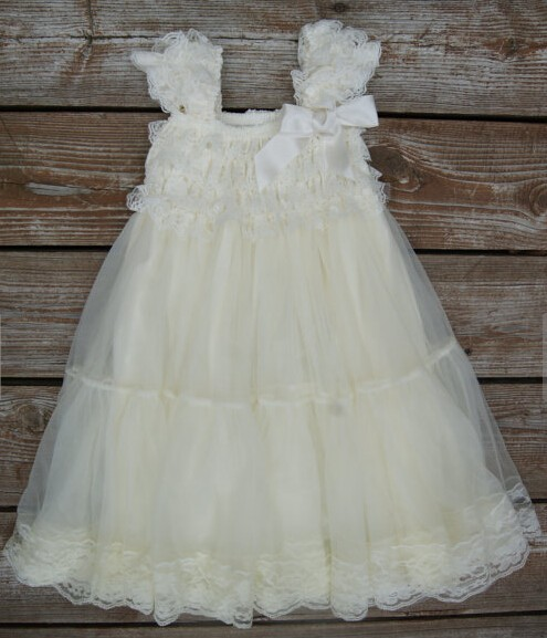 Baby Girl Clothes Flower Girl Dress Ivory Baptism Dress Newborn Girl Christmas Christening Lace Dress