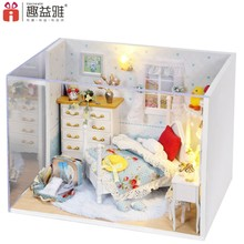 Handmade craft wooden toy doll house prefabricated wooden house miniature diy dollhouse large doll house