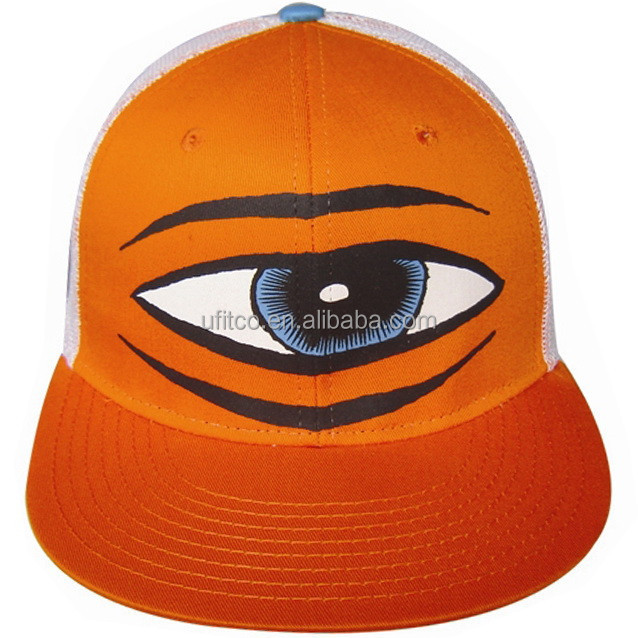 ORANGE/WHITE POLYESTER COTTON ADULT PRINTED SNAPBACK TRUCKER CAPS