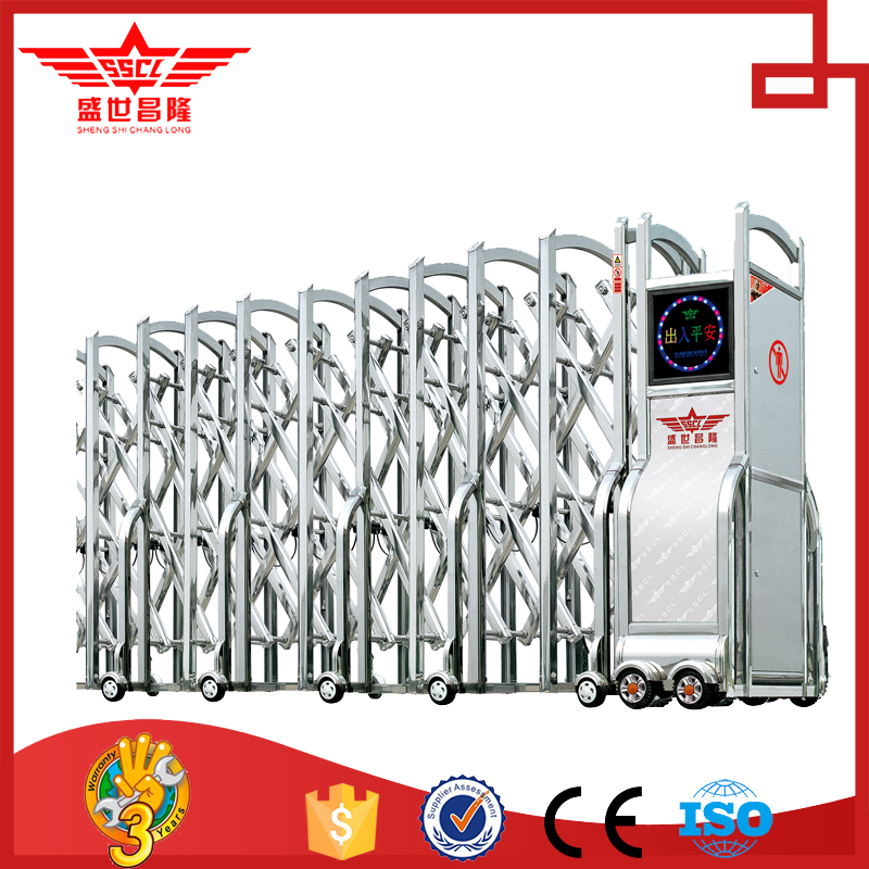 new design stainless steel retractable gates Modern automatic steel folding gate-J1424