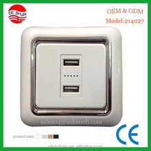 Double 2.1A USB Wall Socket Flush Mounted