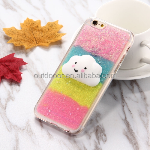 Glitter Powder Gradient Squeeze Relief Squishy Dropproof Protective Back Cover Case for iPhone 7