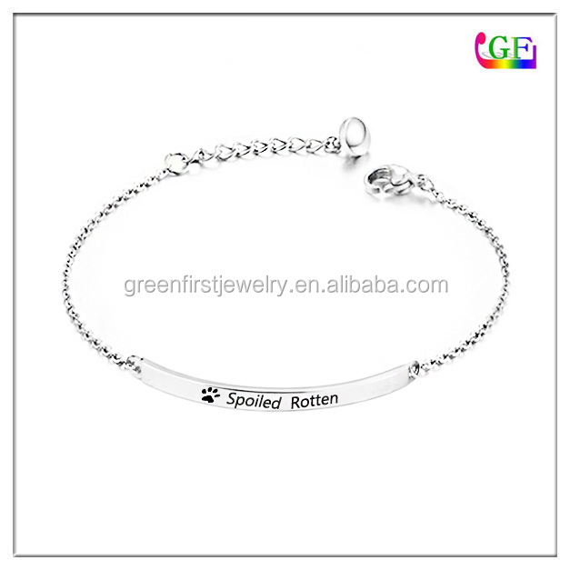 Zinc alloy white silver color bracelet write name