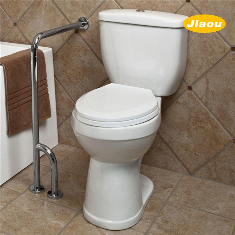 ADA Compliant polished handicap toilet wall to floor grab bar