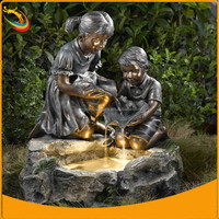 Outdoor Boy and Girl Fountain Garden Outdoor Decoration Boy and Girl and Frog Fountain Sculpture
