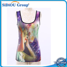 Promotional Ladies Sublimation Printing Tank Tops With Rhinestones Vest
