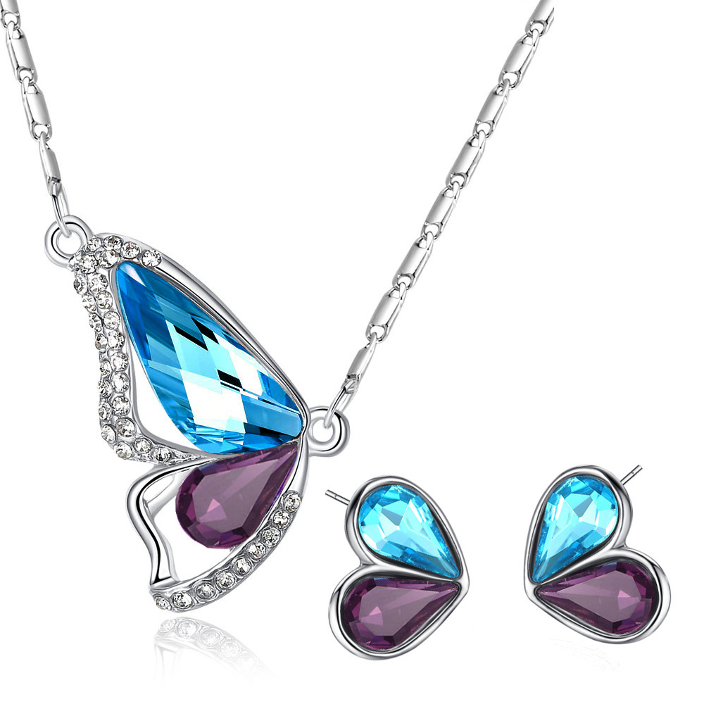 2017 new fashion Austrian Crystal butterfly necklace earrings Jewelry Sets