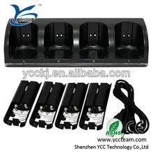 Hot sell QUAD charger for wii with 4 rechargeable battery