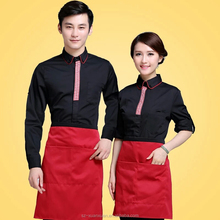 Custom high quality hotel long sleeve waiter uniforms for coffee/hotel/resterant autumn and winter