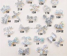 3D Bling Alloy Rhinestones Crystal Faux Pearl Crown Bow tie Nail Art Glitters DIY Decorations