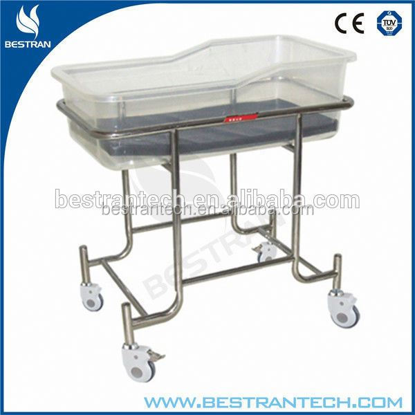 BT-AB109 Quality Stainless Steel Hospital Portable Baby bed with wheels