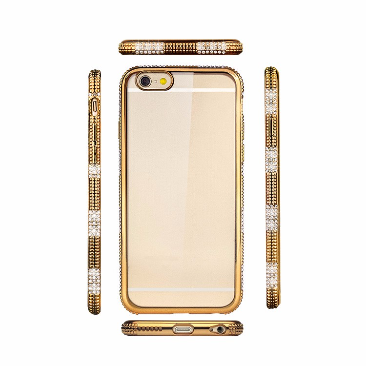2016 Fashion Bling Diamond Electroplating Transparent Soft Mobile Cover TPU Case For iPhone 6