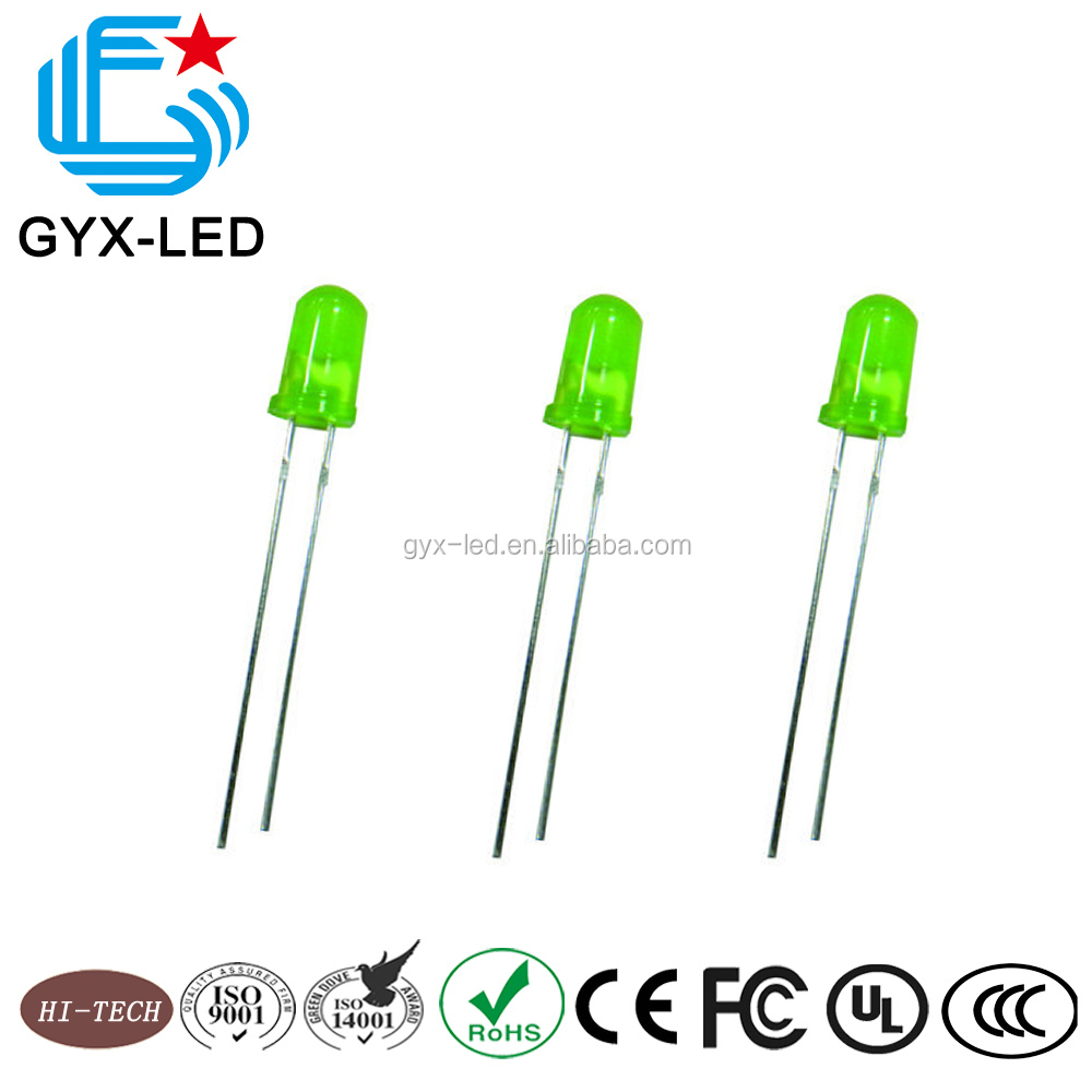 Wholesale 570nm 150mcd yellow green <strong>led</strong> 3mm with rohs approved