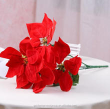 Factory price Christmas Poinsettia flower 5 heads artificial velvet Poinsettia flower
