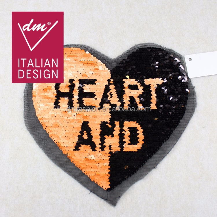 2017 new design double face reversible sequin patch with heart patch
