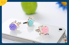 Wholesale cute resin rose shape flower phone anti dust plug