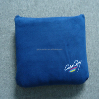 navy with customized logo anti pilling polar fleece zip Blanket with pillow cover