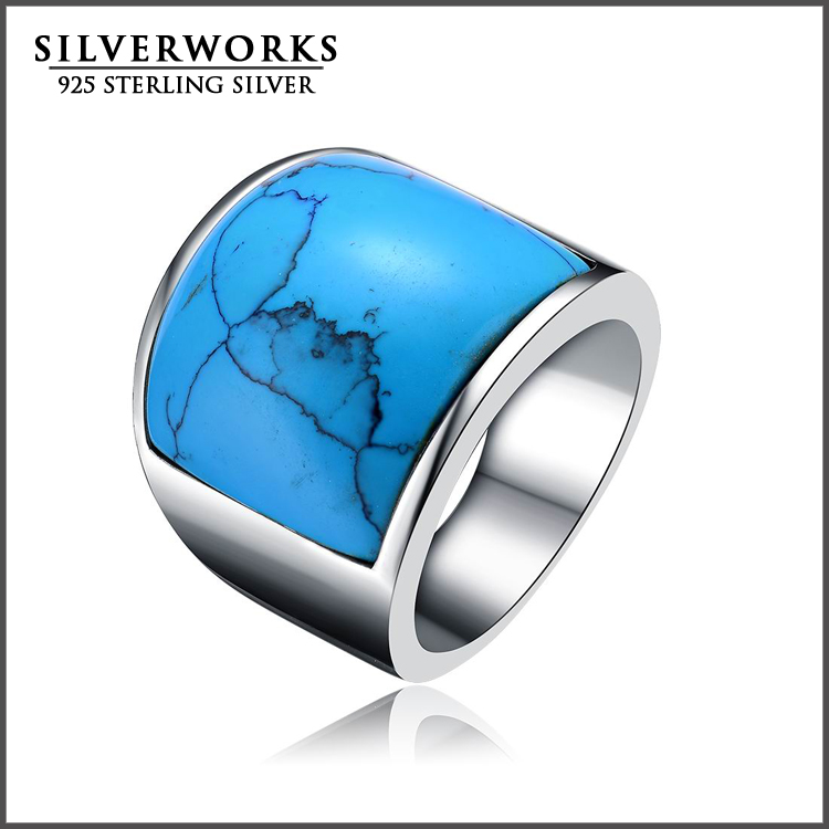 2017 Wholesale Stainless Steel Men's Big Blue Turquoise Vintage Ring