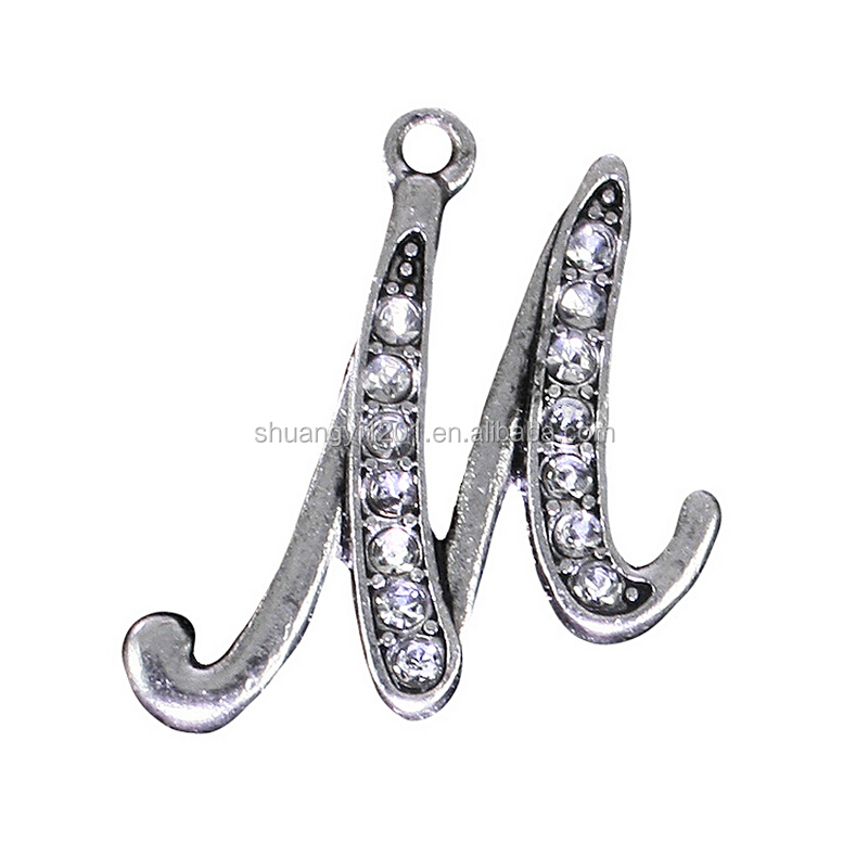 Jewelry Making Charms Fashion Rhinestone Letter M Initial Metal <strong>Pendants</strong>