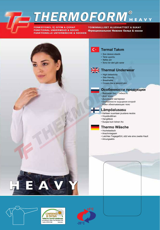 Thermal Heavy Women Underwear Turtle Neck