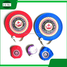 190T Nylon Fabric foldable frisbee fan with pouch Foldable Frisbee Fan With Handle folding pocket fan