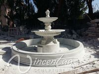 Antique Style Garden Decor Large Size White Marble 3 Tiers Water Fountain for Hot Sale