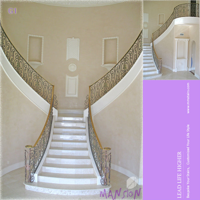 Decorative Wrought Iron Stair Railing (G1)