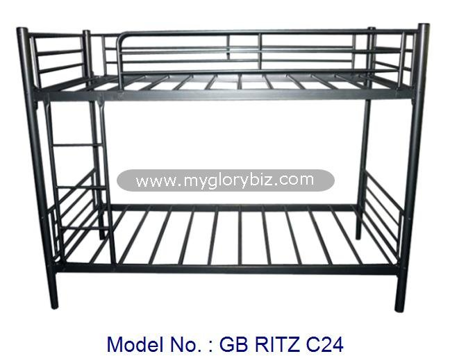 Good Quality Double Decker Metal Bed Furniture In Single Size With Black Color Classic Design