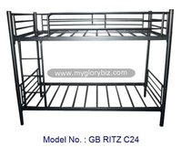 Good Quality Double Decker Metal Bed Furniture In Single Size With Black Colour, single bed designs, bunk bed, double deck bed