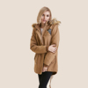 wholesale used winter women cotton overcoats real faux fur long coat with hood