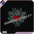 Wholesale heart with leaves Rhinestone Iron on T Shirt Transfer