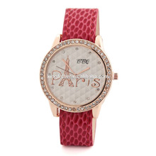 Fine quality colorful pu leather strap love pairs crystal rhinestone tower prints ladies wrist watch