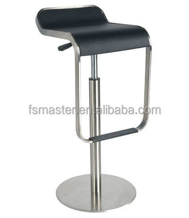 Replica Italian elegant stainless steel base adjustable swivel Lem Piston Bar Stool by Shin and Tornoko Azumi with PVC seat