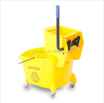 Plastic Mop Bucket With Wringer and Wheels