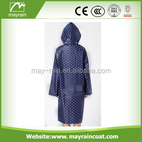 Fashion ladies long raincoat/ladies pvc raincoat/PVC vinyl raincoat