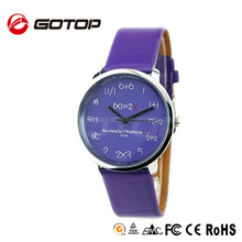 2014 Newest Stainless Steel Back Japan Movtment Quartz Novelty Index Leather Watches Violet