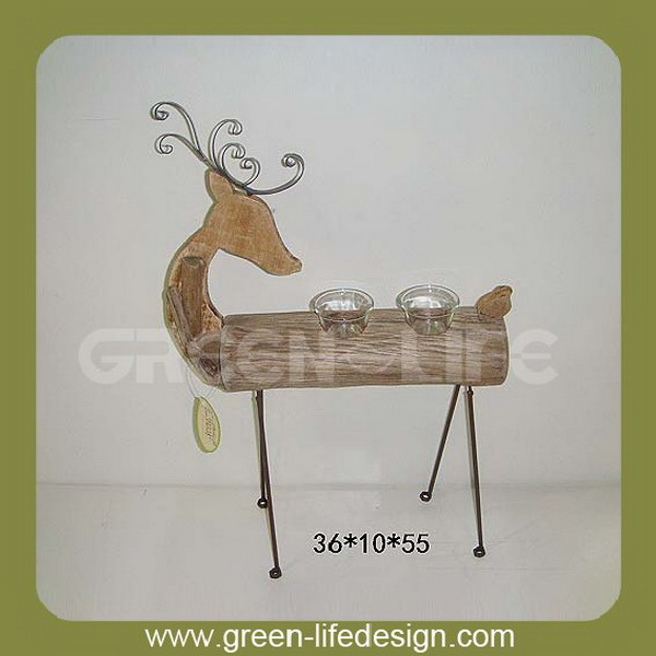 Wooden deer tealight holder stand