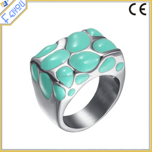 Wholesale men and women wedding stainless steel enamel ring jewelry