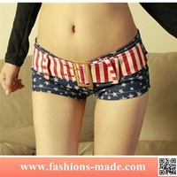 New Girls Sexy US Flag Mini Hot Jeans Shorts with Belt