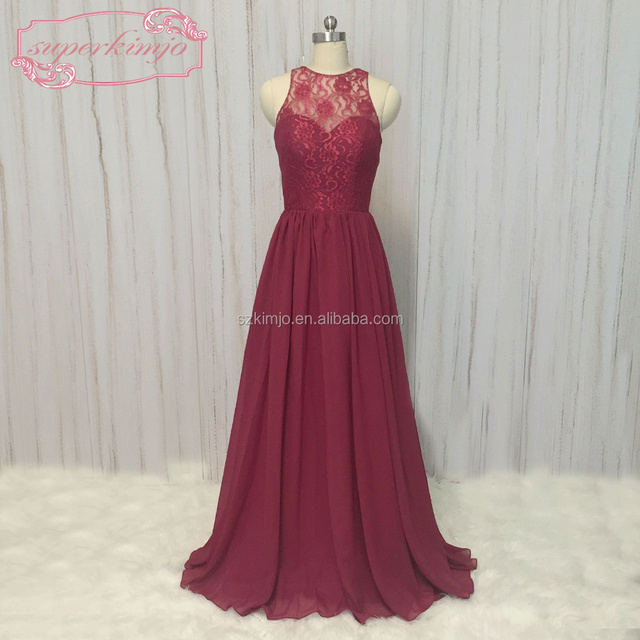 2018 Real Photo Bridesmaid Dresses Burgundy Lace Chiffon Wedding Party Dresses