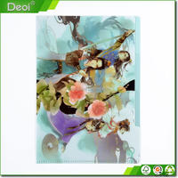 Clear colorful printed pp file folder with elastic band