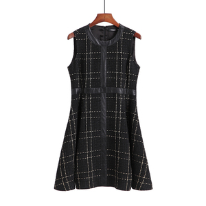 European Clothing Custom Size Lady Sleeveless Retro Woman Grid Dress For Evening Party