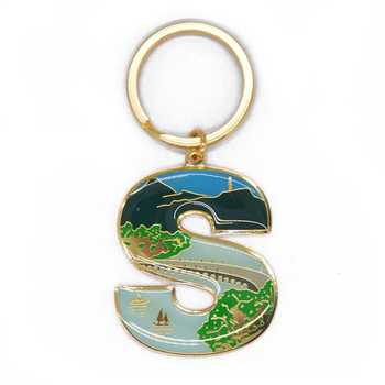 Custom shaped innovative letter keyring souvenir gift key chain zinc alloy sticker epoxy letter s metal keychain